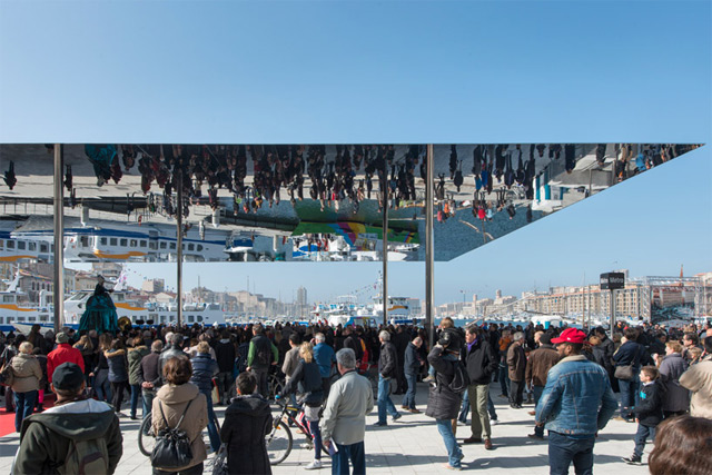 Recently unveiled in Marseille, France this giant mirrored canopy called the Port Vieux Pavilion was
