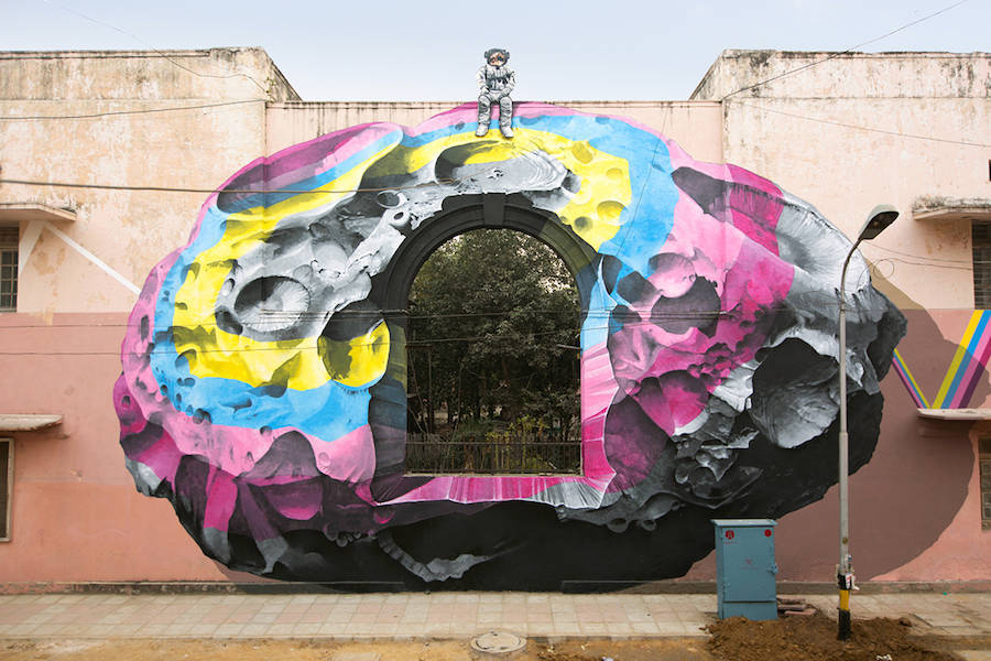 NEVERCREW , a Swiss duo of street artists, usually invade the streets of their mother country. This