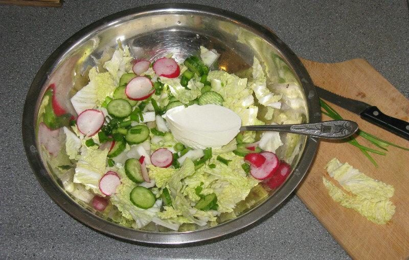салат из латука, редиса и огурцов.