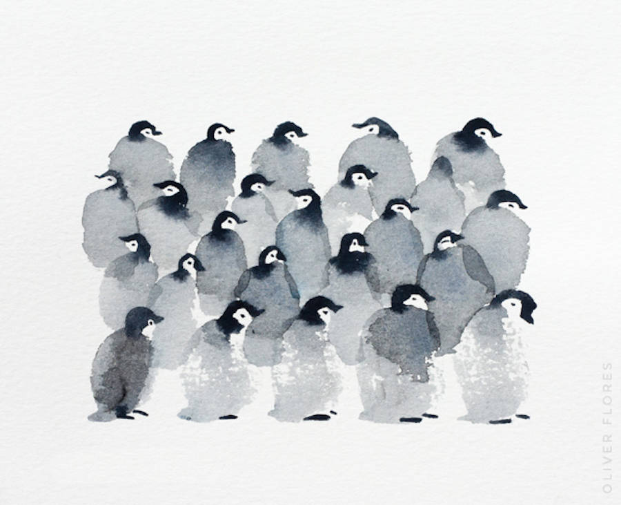 Cute Penguins Watercolor (9 pics)