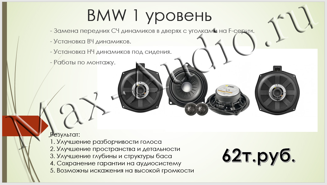 Готовые решения для BMW 1 уровень