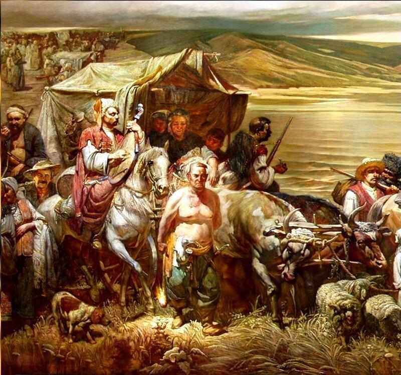 Высадка запорожцев на Тамани. Переселение Сечи.(Фрагмент картины).jpg