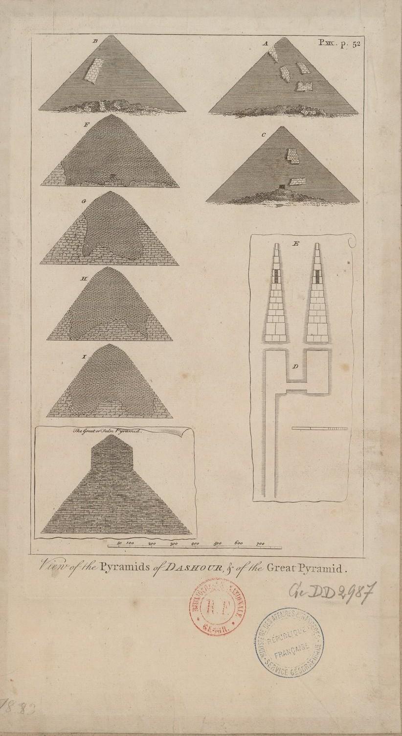 Вид пирамид Дахшура и Великой пирамиды