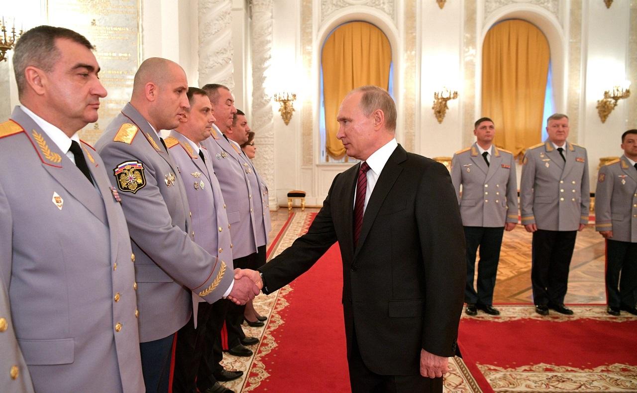 Церемония представления Президенту РФ Владимиру Путину офицеров, назначенных на высшие командные должности., 26 октября 2017-го года