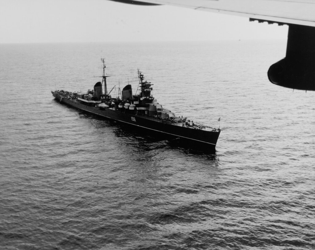 SLAVA (ex-MOLOTOV) Commissioned in 1939, this Kirov-class Soviet cruiser, pennant number 159, is off the coast of Crete, 5 June 1967.