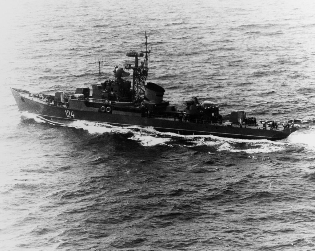 Riga-class ocean escort near North Korea. Soviet Pacific Fleet ship at sea. Photographed in the morning of October 4, 1964.