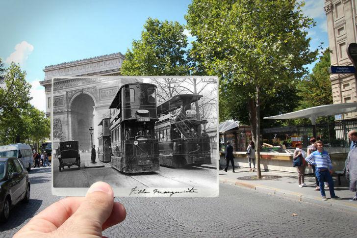 Триумфальная арка сейчас и в 1909 году. Станция метро «Одеон» сейчас и в 1910 году. Площадь Оперы се