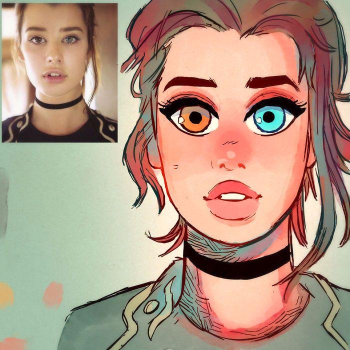 Художник превращает незнакомых девушек в мультяшных персонажей
