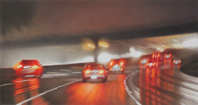 Ventura Freeway V, 2013 / Colored pencil and solvent on Strathmore bristol vellum. © Elizabeth