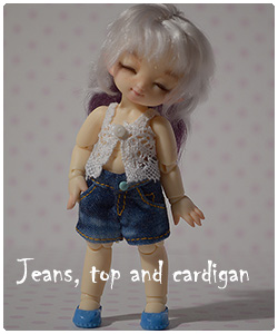 jeans, top and cardigan for pukipuki
