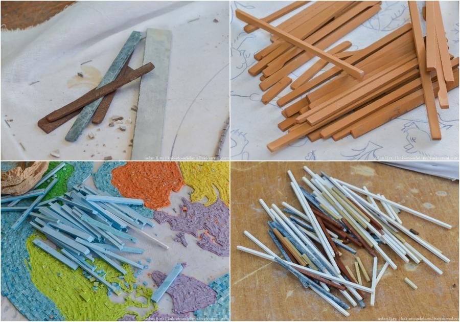 6. Рисунок складывается как пазл из наколотых кусачками длинных каменных палочек разного цвета. Неко