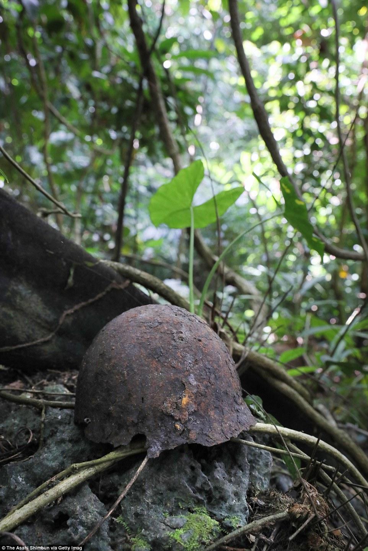 Каска японского солдата в джунглях Гуадалканала.