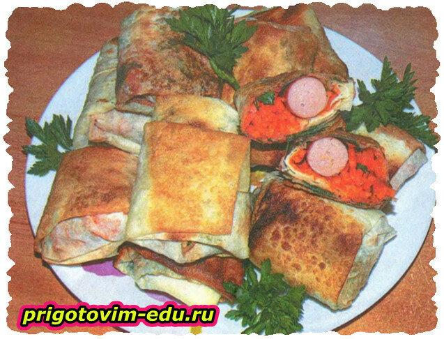 Хрустящий лаваш с начинкой из сосисок