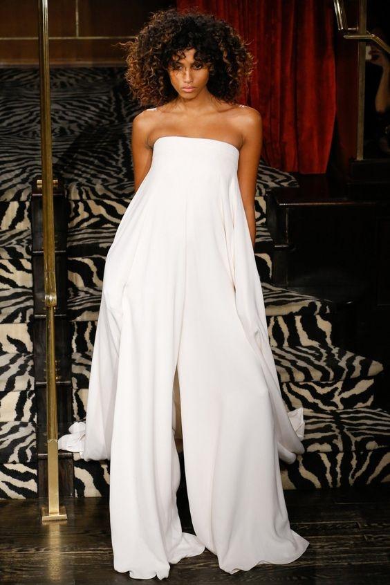 широкий шелковый комбинезон невесты Brandon Maxwell