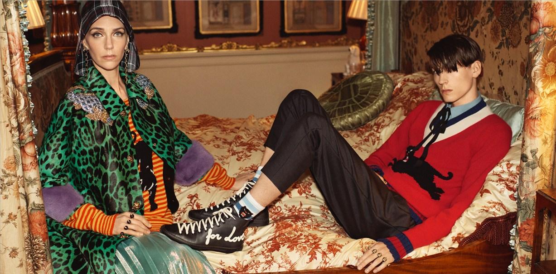 Gucci Cruise 2017 by Glen Luchford / Vanessa Redgrave, Hannelore Knuts, Ellen de Weer, Sophia Friesen, Nika Cole, Dwight Hoogendijk, Nick Fortna, Conner Rowson, Victor Kusma