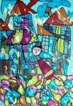 """Кузнецова Ульяна (рук. Головко Людмила ) - """"Под дождём"""""""