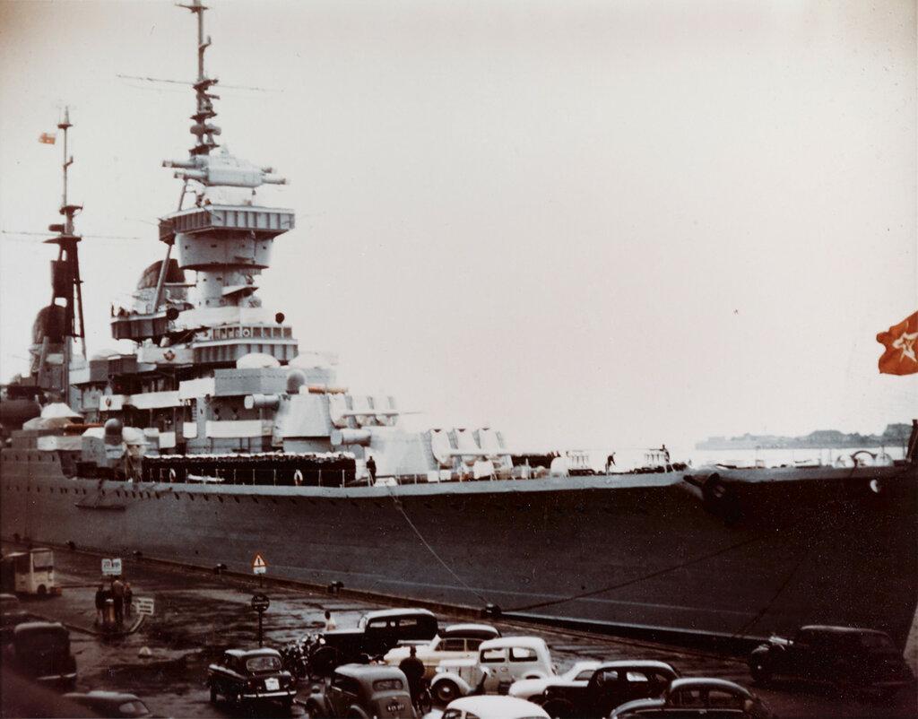 ORDZHONIKIDZE (Soviet Cruiser, 1950-1973) during August 1956 at Copenhagen, Denmark. Note the flag of Admiral A.G. Golovko at the main top mast.