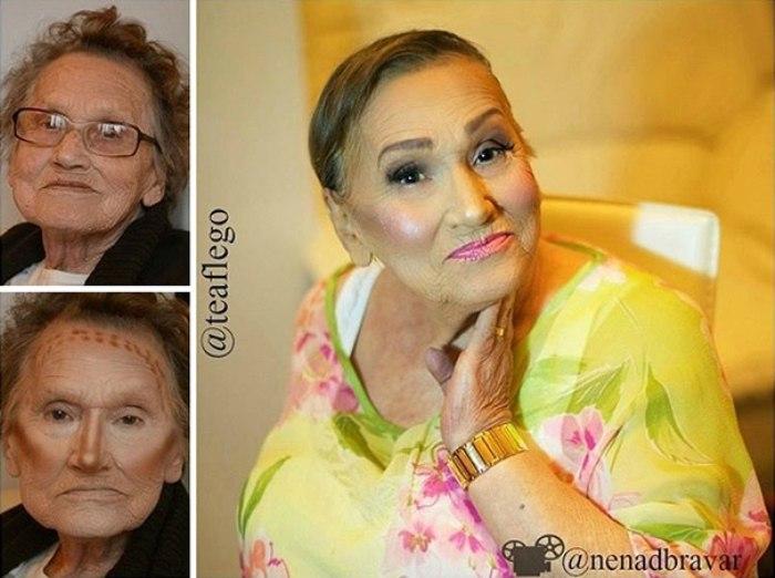 Молодильный мейкап: 80-летняя бабушка взорвала Интернет гламурным макияжем