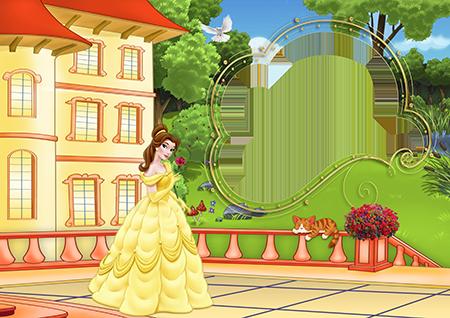 Рамка со стоящей на террасе дома принцессой в длинном желтом платье с розой в руке
