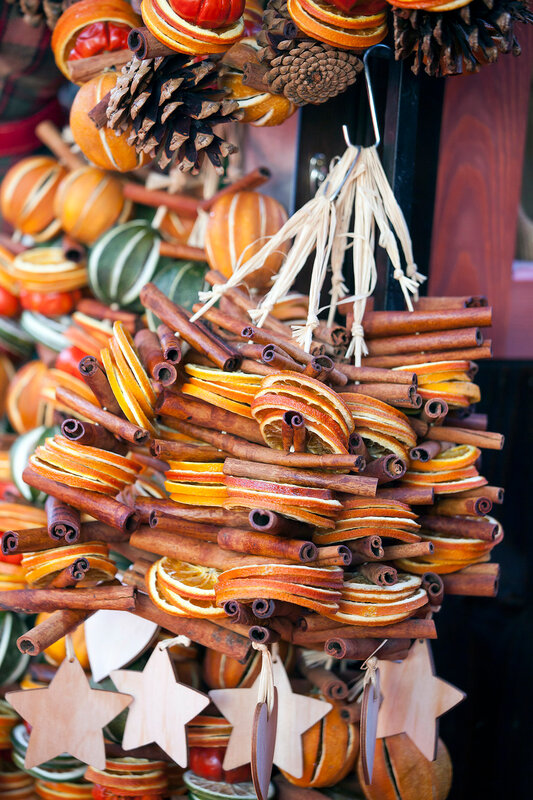 Christmas gifts,Fir branches,dried oranges, nuts,ornaments and decorations.