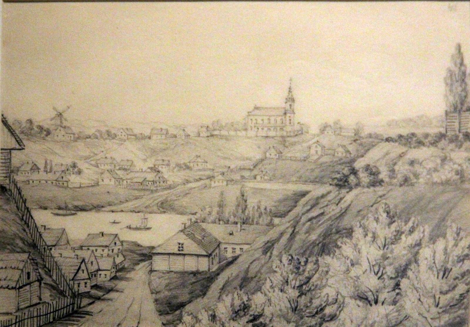 Орда Наполеон. 1807-1883 Гродно. Общий вид. 1867 Рисунок карандашом, подправленный акварелью Национальный музей в Кракове
