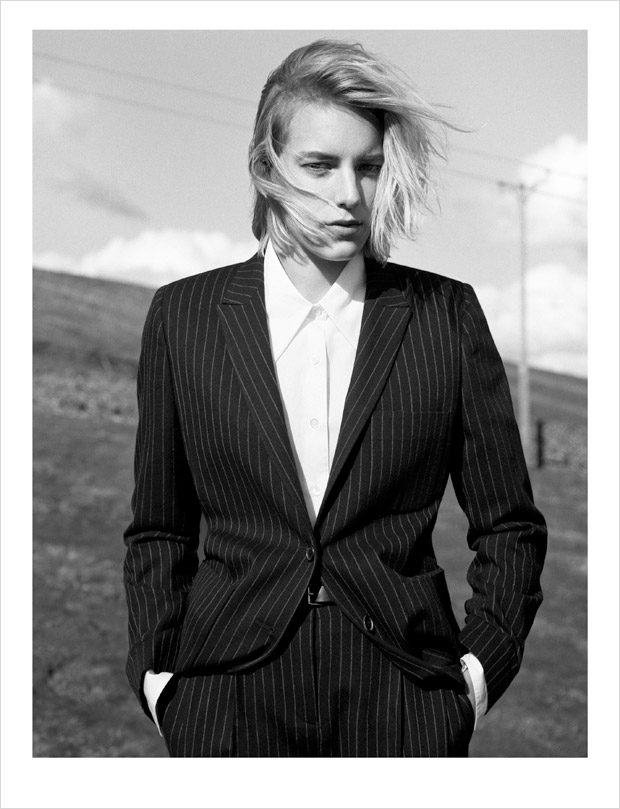 Swedish top model and actress Erika Linder stars in Margaret Howell 's Fall Winter 2016.17 wom