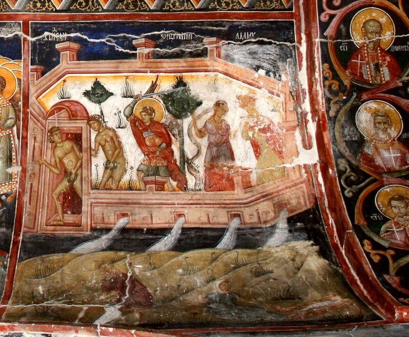 Изгнание Адама и Евы из Рая. Фреска в комплексе Печской Патриархии, Косово, Сербия.