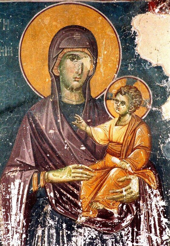 Пресвятая Богородица с Младенцем. Фреска церкви Святых Иоакима и Анны (Королевской церкви) в монастыре Студеница, Сербия. 1314 год.