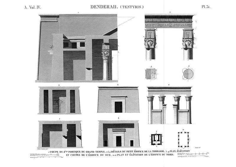 Святилище Хатхор в Дендре, Египет, детали пилона главного храма, чертежи мелких строений в окрестностях святилища