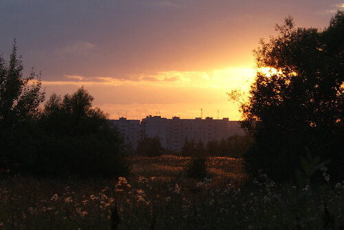 Ликино-Дулёво на закате, вид от д.Кудыкино