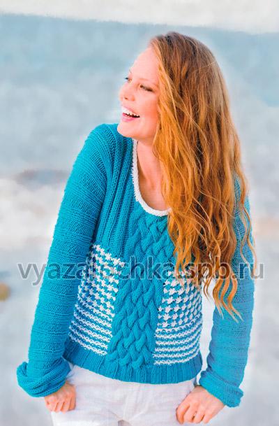 Пуловер с плетеной косой спицами