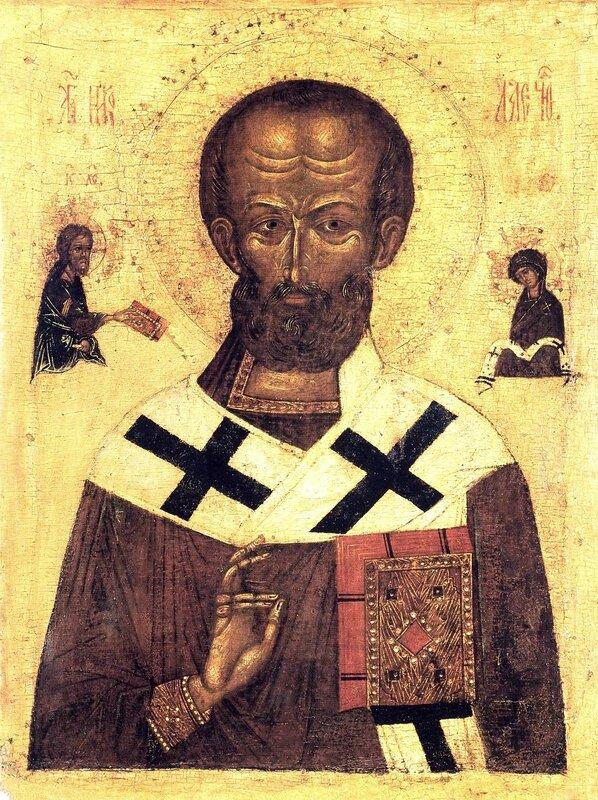 Святитель Николай, Архиепископ Мир Ликийских, Чудотворец. Икона. Новгород, XIV век.