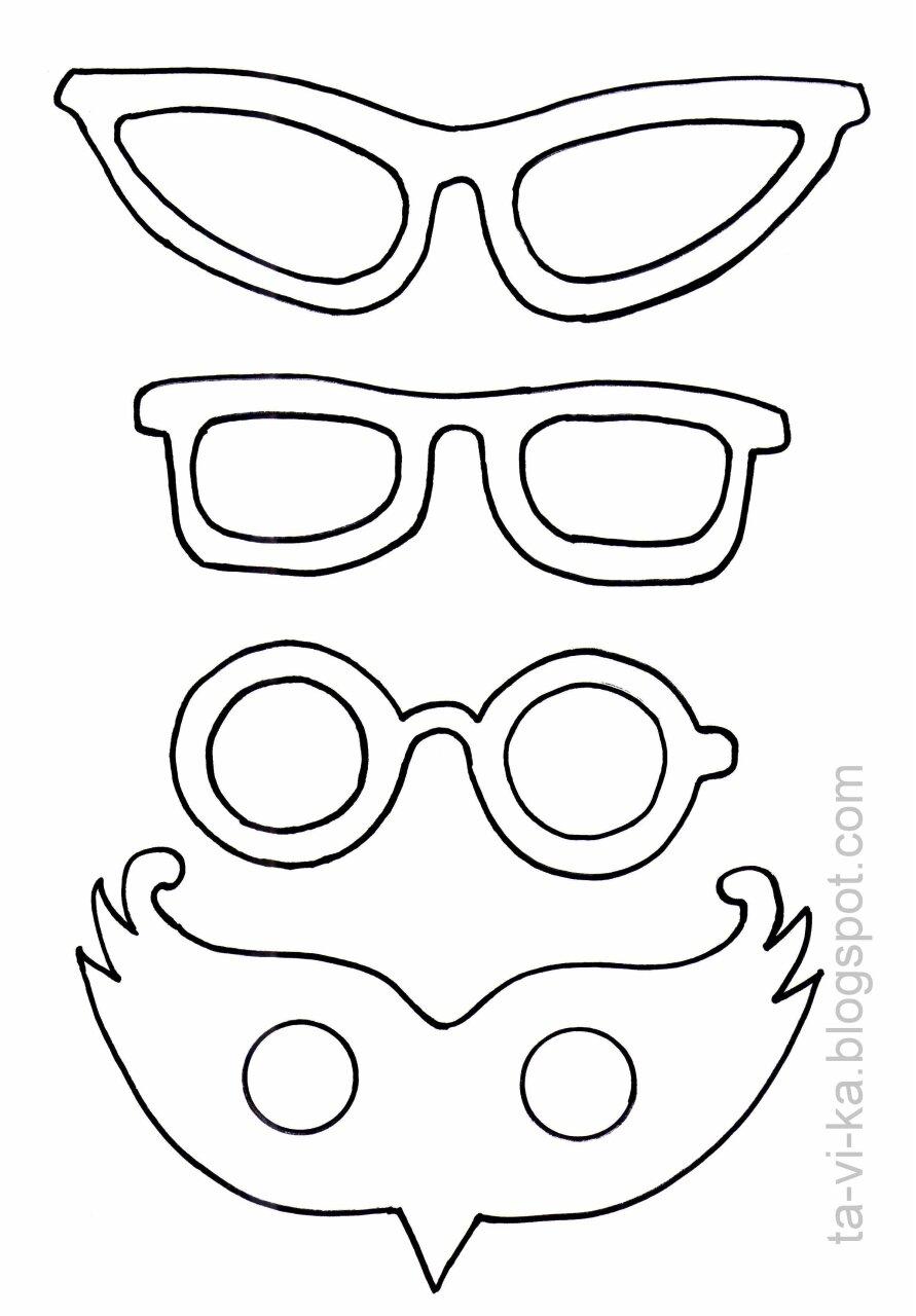 маски на палочке - шаблон