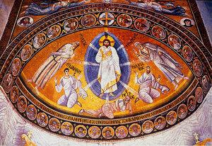 Преображение Господне на горе Фавор. У ног Спасителя апостолы Иоанн, Петр и Иаков