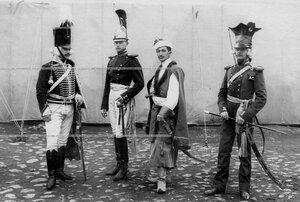 Группа офицеров в исторических полковых формах различных эпох в день 250- летнего юбилнея полка.
