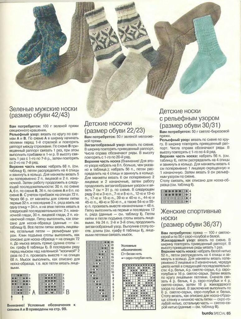 Узор на вязание спицами мужских носков