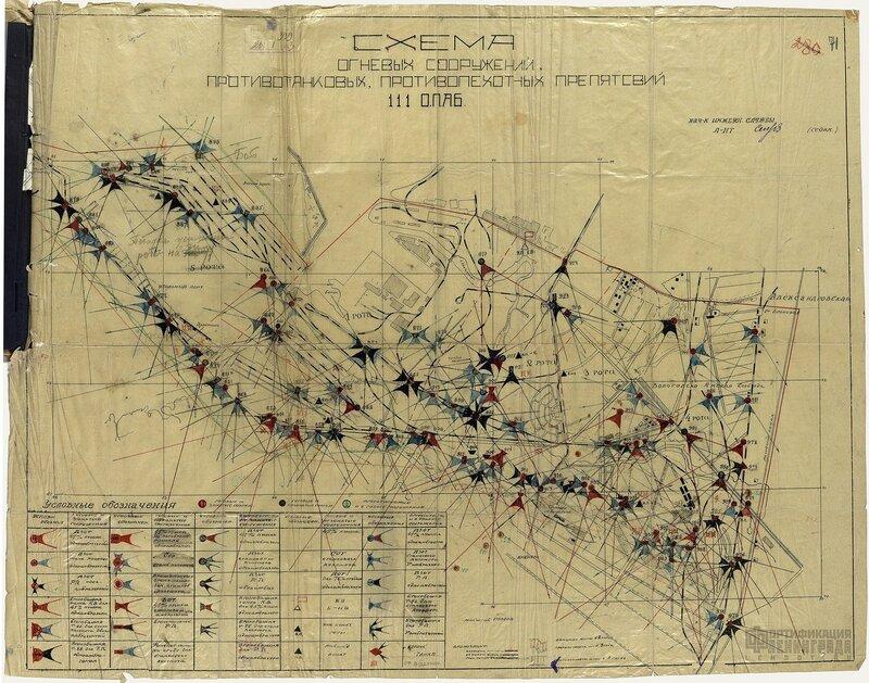 Схема огневых сооружений, противотанковых, противопехотных препятствий 111 ОПАБ