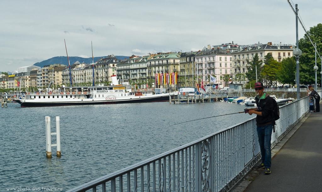 Фотография 16. Поездка по Швейцарии. Рыбак на Женевском озере