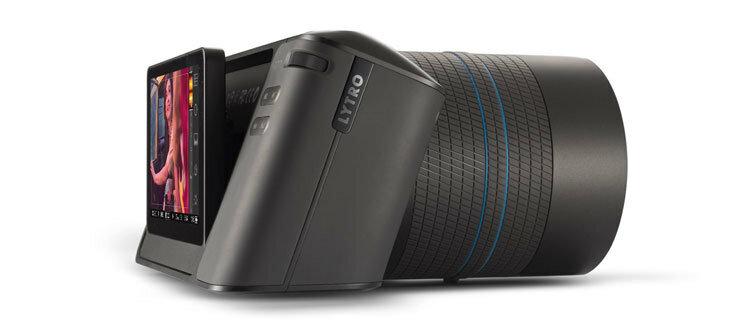 Вид сбоку на камеру светового поля Lytro Illum поворотный дисплей