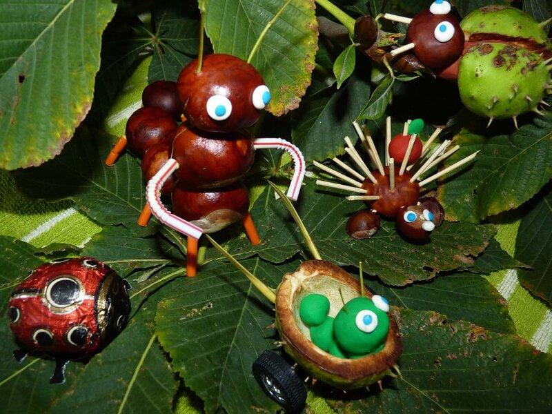 Тогда и получаться смешные и достойные внимания поделки из шишек и каштанов, каштанов и желудей, каштанов и листьев.
