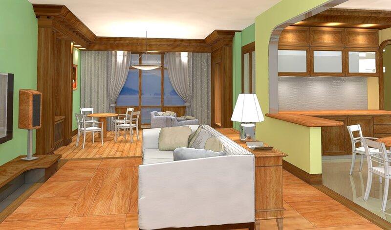 Интерьер гостиной с каминном и ломберным столом, кухни-столовой. Проект жилого дома на природе.