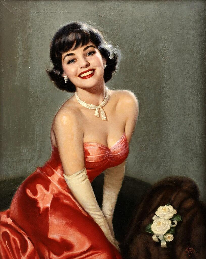 Walt Otto (1895-1963) - Brunette in a red
