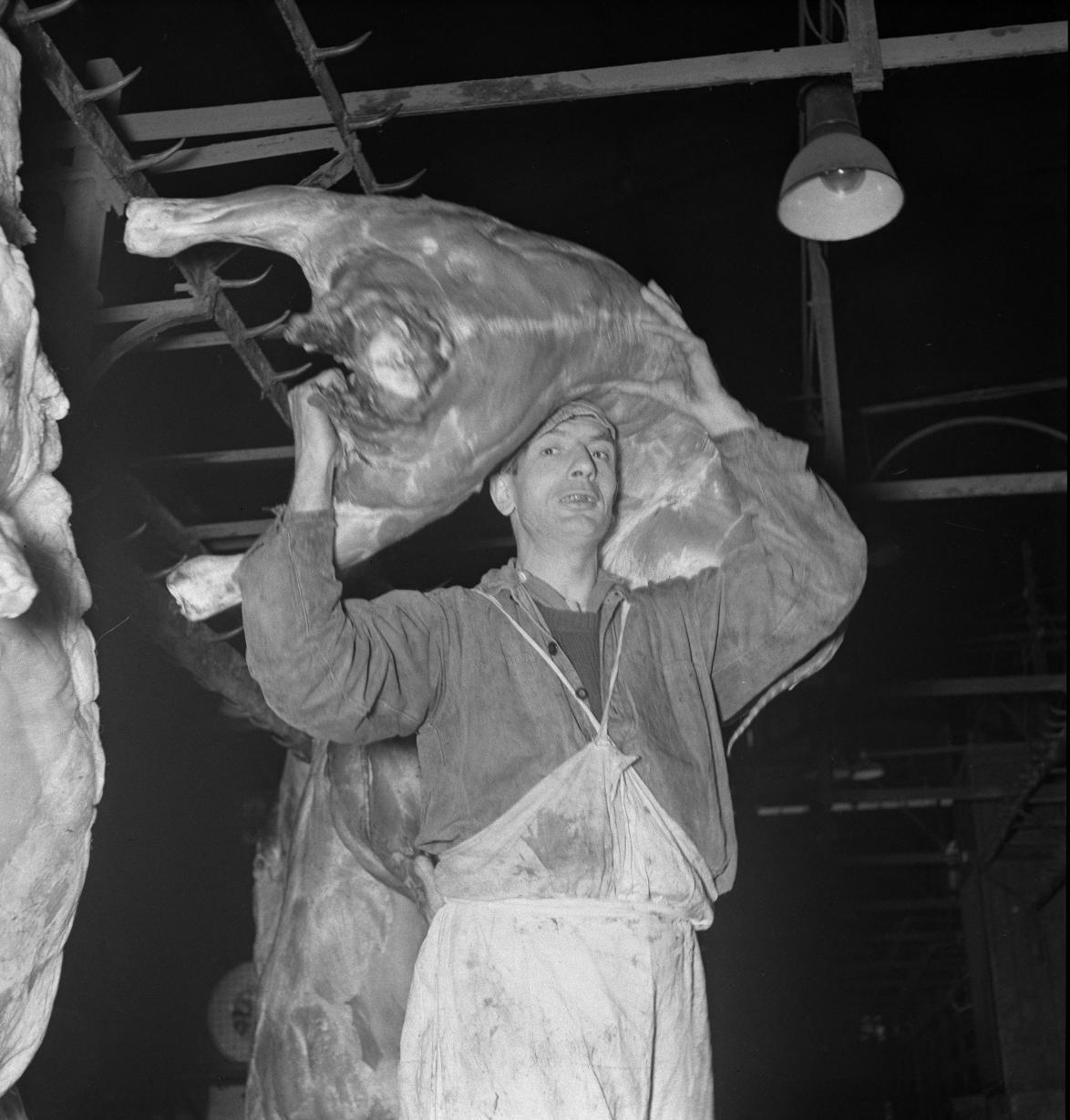 08. Эти носильщики переносят мясные туши весом от 70 до 120 кг