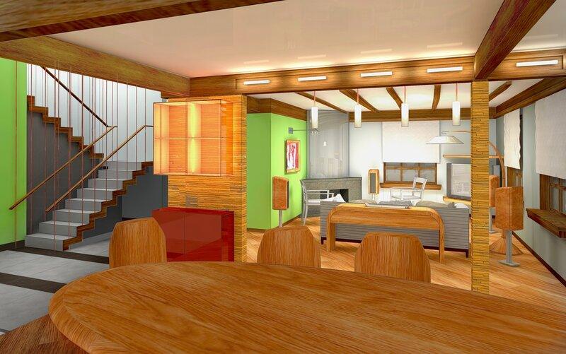 Интерьер столовой, гостиной, каминной. проект жилого дома на природе.