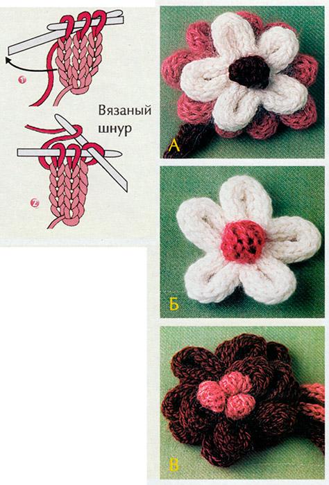 Цветы, связанные спицами схема