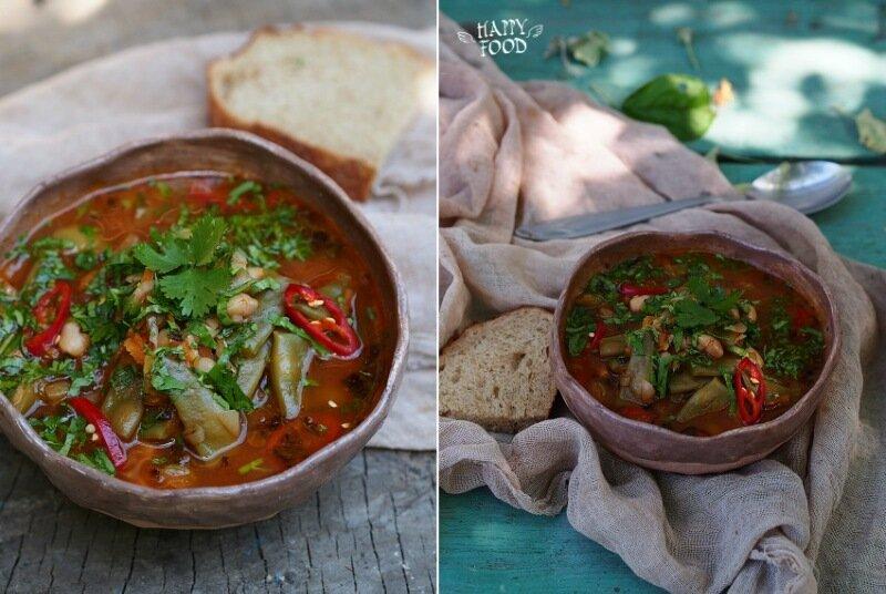 Томатный суп со стручковой фасолью и чили