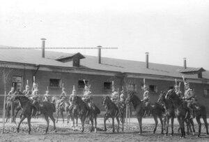 Группа конных офицеров во время смотра полка.