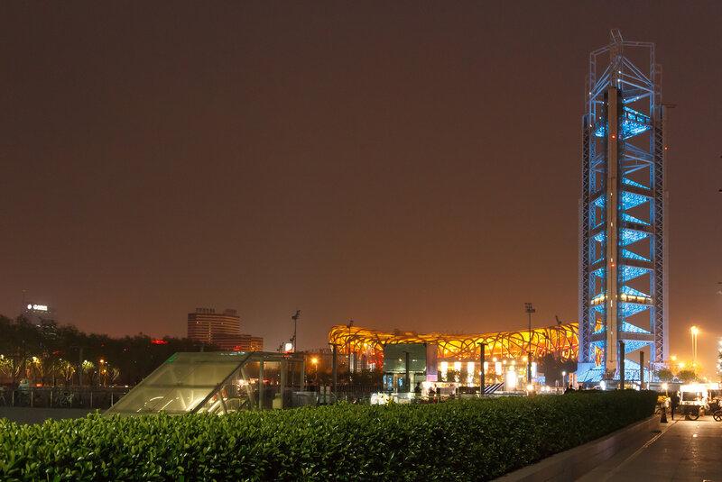 Башня Линлун и стадион, Олимпийский парк, Пекин