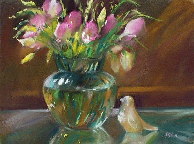 Натюрморты и цветы от Mary Aslin.