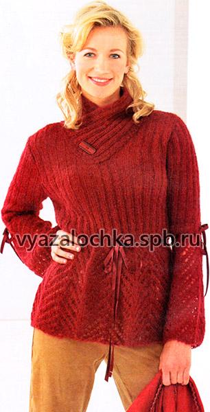 Красный мохеровый пуловер спицами